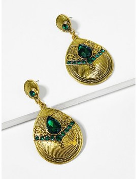 Gemstone Detail Waterdrop Earrings by Sheinside