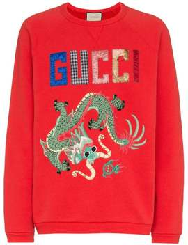 Dragon Patchwork Cotton Sweatshirt by Gucci