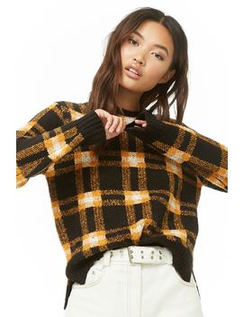Vented Plaid Sweater by Forever 21