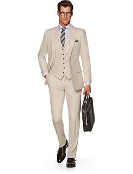 Lazio Light Brown Plain Suit by Suitsupply