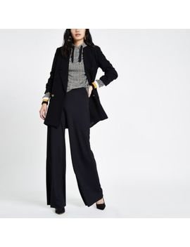 Black Wide Leg Pull On Trousers by River Island