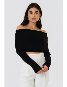 Cropped Folded Knitted Sweater by Na Kd
