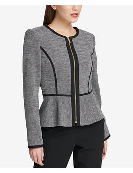 Knit Piped Peplum Blazer, Created For Macy's by Dkny