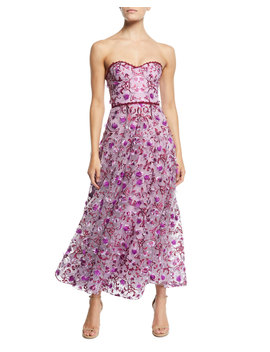 Strapless 3 D Floral Embroidery Dress by Marchesa Notte