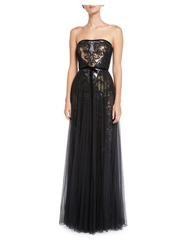 Sequin & Tulle Pleated Strapless Gown by Marchesa Notte
