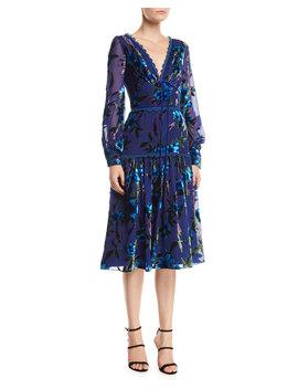 Floral Velvet Burnout Bishop Sleeve Dress by Marchesa Notte