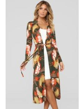Fall Florals Duster   Olive/Combo by Fashion Nova