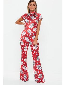 Red Floral Satin Flared Jumpsuit by Missguided