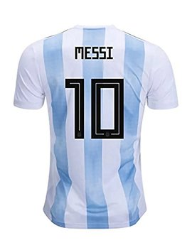 Camp July 2018 World Cup Soccer Team Argentina Messi 10 Home Men's Jersey Color White by Camp July