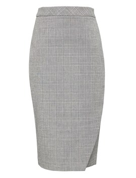 plaid-bi-stretch-wrap-front-pencil-skirt by banana-repbulic