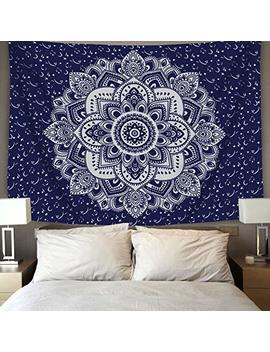 "Bleum Cade Mandala Tapestry Wall Hanging Dark Blue & White Psychedelic Tapestry Wall Art Floral Decorative For Bedroom Living Room 51""X 59"" by Bleum Cade"