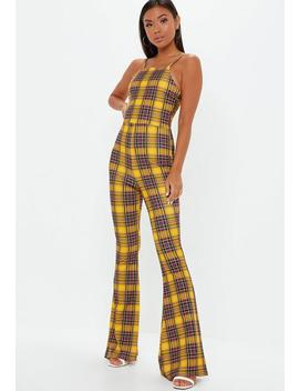 Yellow Plaid 90s Neck Kick Flare Jumpsuit by Missguided