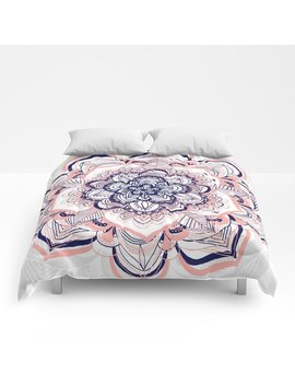 Woven Dream   Mandala In Pink, White And Deep Purple Comforters by