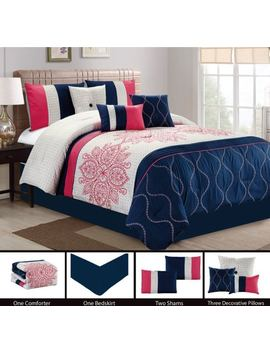 Modern 7 Piece Bedding Melon Pink Navy Blue Grey Floral Embroidered Embossed by Grand Linen