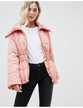 Asos Design Waisted Quilted Puffa Jacket by Asos Design