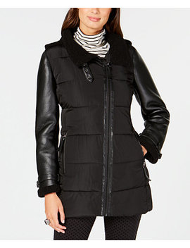 Mixed Media Hooded Puffer Coat by Calvin Klein