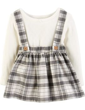 2 Piece Bodysuit & Plaid Suspender Skirt Set by Carter's