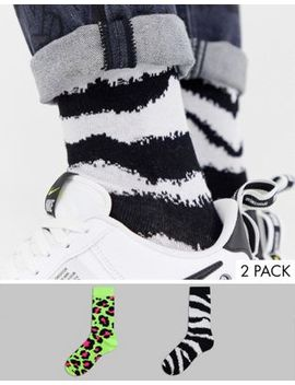Asos Design Socks In Fluro Animal Print Design 2 Pack by Asos Design