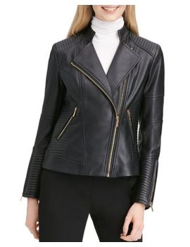 Faux Leather Moto Jacket by Calvin Klein
