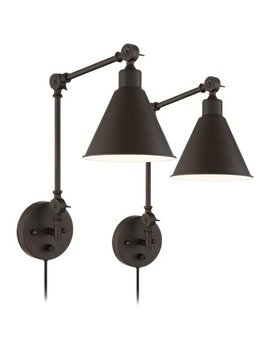 360 Lighting Wray Bronze Metal Plug In Wall Lamp Set Of 2 by 360 Lighting