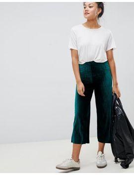 Asos Design Velvet Plisse Culotte by Asos Design