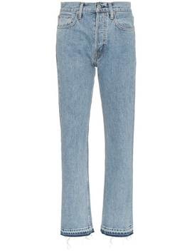 Blue Mid Rise Straight Leg Jeans by Helmut Lang