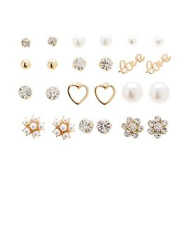 Faux Pearl & Floral Stud Earrings   12 Pack by Charlotte Russe