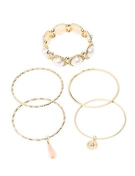 Faux Pearls & Textured Metal Bangle by Charlotte Russe