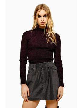 Shimmer Funnel Neck Jumper by Topshop