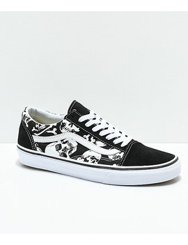 Vans Old Skool Skulls Black & White Skate Shoes by Vans