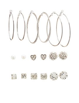 Crystal Stud &Amp; Hoop Earrings by Charlotte Russe