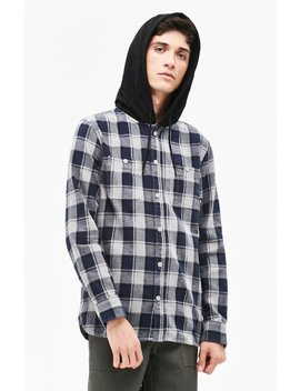 Vans Lopes Hooded Plaid Flannel Shirt by Pacsun