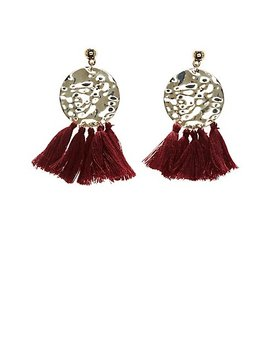 Hammered Tassel Drop Earrings by Charlotte Russe