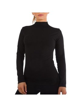 Women Long Sleeve Mock Neck Shirt Seamless Stretch Turtleneck Top Slim Fitted M Xl Plus Size by Kuda Moda