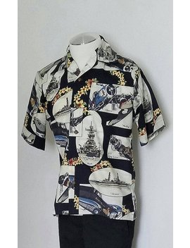 Black Ww2 Battleship And Warplanes Aloha Style Shirt by Etsy