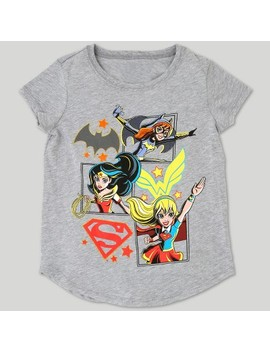 Girls' Dc Super Hero Girls Short Sleeve T Shirt   Heather Gray by Dc Comics