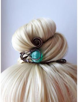 Hair Cuff,  Bun Cage, Long Hair Jewelry, Hair Pin, Bun Holder  Copper Hair Slide by Etsy