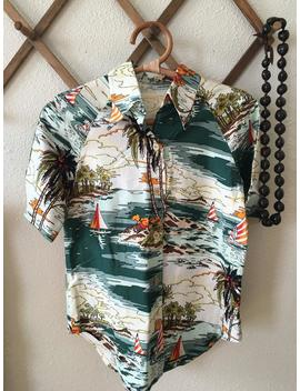 Vintage Tropical | Beach | Aloha | Surf | Tiki Style Paint By Number | Pbn Print Hawaiian Shirt Small by Etsy