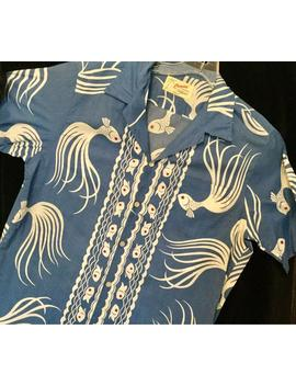 "Mens Hawaiian Shirt Fish Print Koi Goldfish Japanese Blue ""Canoes Of Honolulu"" Collar Buttons Mens/Unisex (Size Med Lg ?) Vintage by Etsy"
