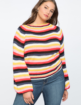 Striped Puff Sleeve Sweater by Eloquii