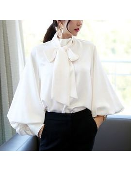 Cassidy   Puff Sleeve Tie Neck Chiffon Blouse by Cassidy