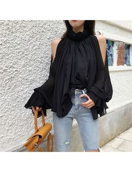 Annz   Cold Shoulder Chiffon Blouse / Skinny Jeans by Annz
