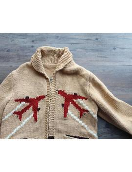Rare Vintage 1950s Airplane Print Hand Knit Cowichan Wool Sweater // Vintage Aviation // Collectible by Etsy