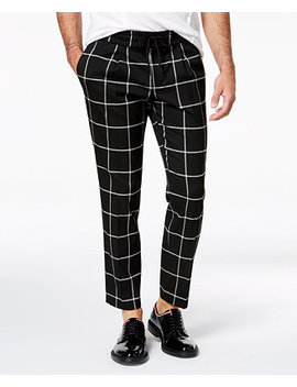 I.N.C. Men's Cropped Windowpane Pants, Created For Macy's by Inc International Concepts