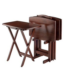 Winsome Oversize Snack Table Set, Walnut by Winsome Wood