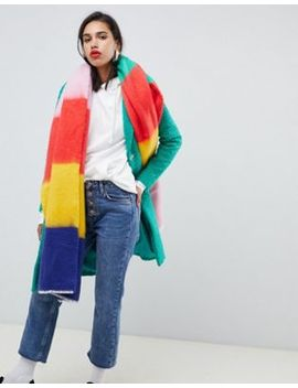 Asos Design Oversized Long Rainbow Block Stripe Scarf by Asos Design