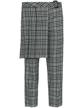 Kilt Detail Check Wool Blend Trousers by Juun.J