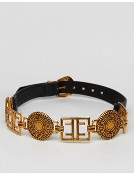Asos Design Circle Plate Belt In Old Gold by Asos Design