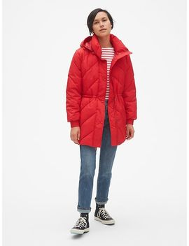 Elongated Puffer Jacket With Cinched Waist by Gap