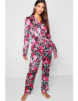 Bright Floral Button Through Pj Set by Boohoo